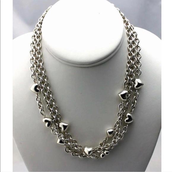 3703c2d75 Tiffany & Co. Jewelry | Tiffany 3 Strand Puffy Heart Necklace | Poshmark